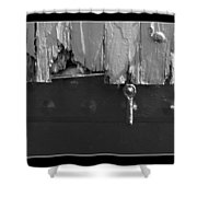 Lighthouse Shutter Black And White Shower Curtain