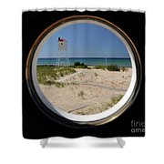 Lighthouse Window To Lake Shower Curtain