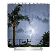 Lighting In The Backyard  Shower Curtain