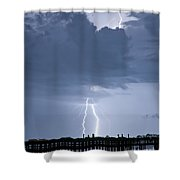 Lightning At The Pier Shower Curtain