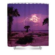 Lightning Illuminates The Purple Sky Shower Curtain