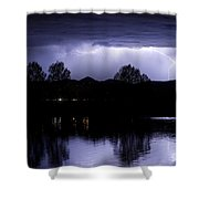 Lightning Over Coot Lake Shower Curtain