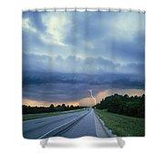 Lightning Over Highway, Bee Line Shower Curtain