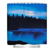 Lightning Over Pisew Falls, Manitoba Shower Curtain
