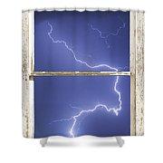 Lightning Strike White Barn Picture Window Frame Photo Art  Shower Curtain
