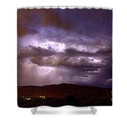 Lightning Strikes During A Thunderstorm Shower Curtain