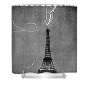 Lightning Strikes Eiffel Tower, 1902 Shower Curtain