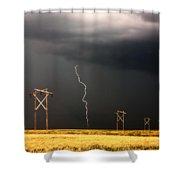 Lightning Striking Behind Saskatchewan Power Line Shower Curtain