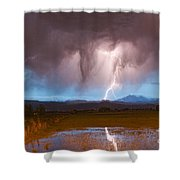 Lightning Striking Longs Peak Foothills 3 Shower Curtain