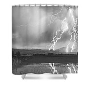 Lightning Striking Longs Peak Foothills 4bw Shower Curtain