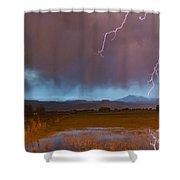 Lightning Striking Longs Peak Foothills 5 Shower Curtain
