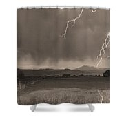 Lightning Striking Longs Peak Foothills 5bw Sepia Shower Curtain