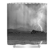 Lightning Striking Longs Peak Foothills 7cbw Shower Curtain
