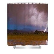 Lightning Striking Longs Peak Foothills 8 Shower Curtain