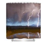 Lightning Striking Longs Peak Foothills Shower Curtain