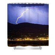 Lightning Striking Over Ibm Boulder Co 1 Shower Curtain