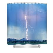 Lightning Twine Striking The Colorado Rocky Mountain Foothills Shower Curtain
