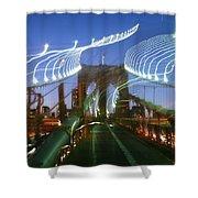Lightwriting Brooklyn Bridge Shower Curtain