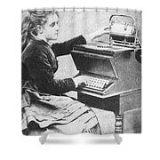 Lillian Sholes, The First Typist, 1872 Shower Curtain