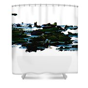 Lily Pads On White Water Shower Curtain