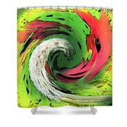 Lime And Red Shower Curtain