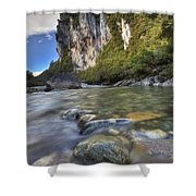 Limestone Cliffs And Fox River, Paparoa Shower Curtain
