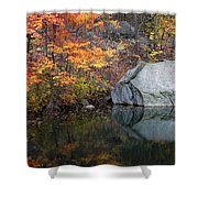 Lincoln Woods Autumn Boulders Shower Curtain