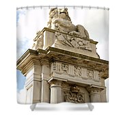Lion On Pedestal Shower Curtain