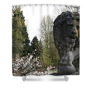 Lion Sculpture Shower Curtain
