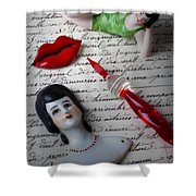 Lips Pen And Old Letter Shower Curtain