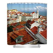Lisbon Rooftops Shower Curtain by Carlos Caetano
