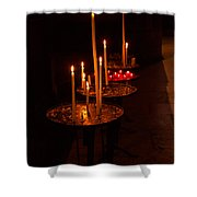 Lit Candles In A Church Shower Curtain