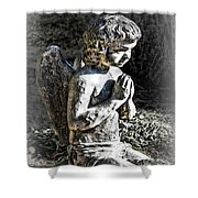 Little Angel Statue Shower Curtain