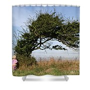 Little Girl And Wind-blown Tree Shower Curtain