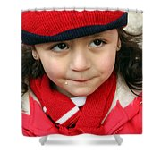 Little Girl In Red Shower Curtain