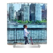 Little Girl On Scooter By Manhattan Skyline Shower Curtain