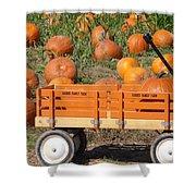Little Orange Wagon Shower Curtain