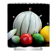 Little People Hiking On Fruits Shower Curtain