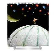 Little People Hiking On Fruits Under Starry Night Shower Curtain