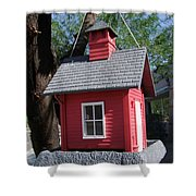 Little Red Birdhouse Shower Curtain