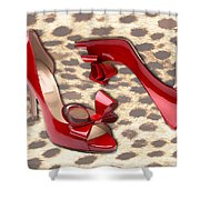 Little Red Bow Peep Toes Shower Curtain