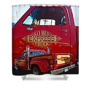 Little Red Exprees Door Hdr Shower Curtain