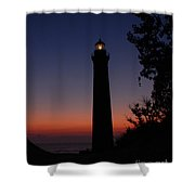 Little Sable Point Lighthouse After Sunset Shower Curtain