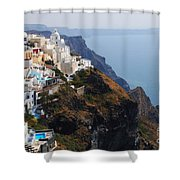Living On The Edge In Santorini Shower Curtain