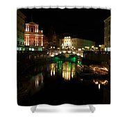 Ljubljana By Night Shower Curtain