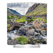 Llanberis Pass Shower Curtain by Adrian Evans