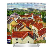 Painting Llandovery Roof Tops Shower Curtain