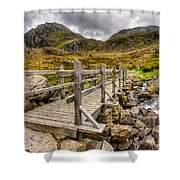 Llyn Idwal Bridge Shower Curtain by Adrian Evans