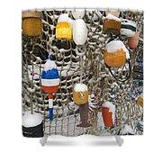Lobsta Snow Net Shower Curtain