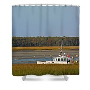 Lobster Boat Along Maine Shower Curtain